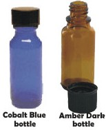 essential oils bottle, cobalt blue bottles, dark amber bottles